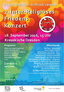 Plakat 2. Inter-Religiöses Friedenskonzert